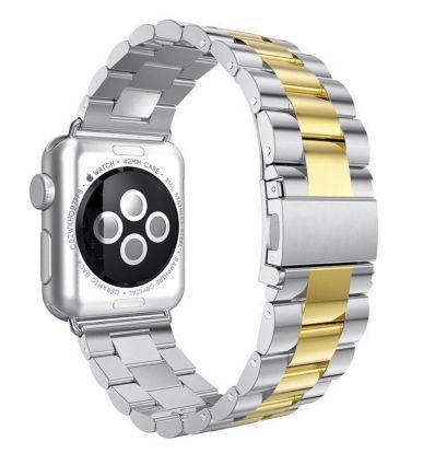 Bracelet en Acier inoxydable pour Apple Watch 42mm - 44mm - Argent / Or