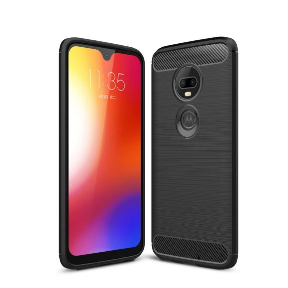 Motorola Moto G7 - Coque gel brossé carbone
