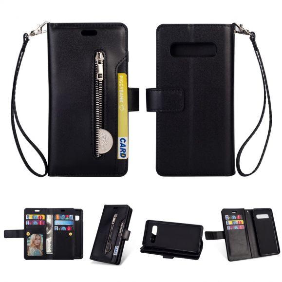 Samsung Galaxy S10 Plus - Étui portefeuille en cuir avec lanière