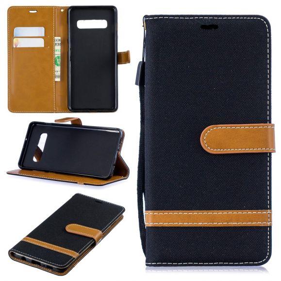 Samsung Galaxy S10 Plus - Housse revêtement tissu porte-cartes