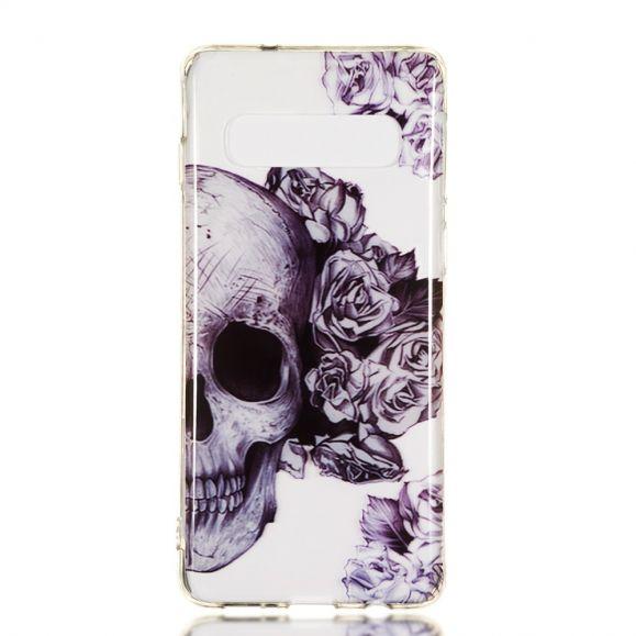Samsung Galaxy S10 - Coque transparente Skull flowers