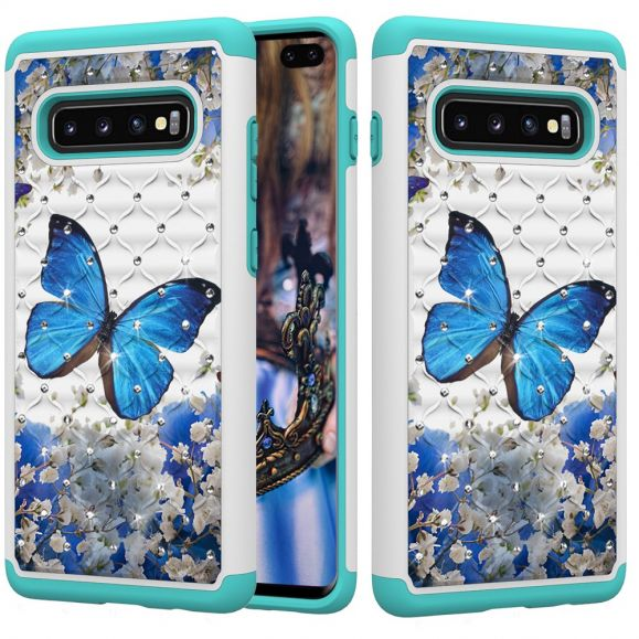 Samsung Galaxy S10 Plus - Coque papillon bleu antichoc