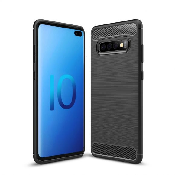 Samsung Galaxy S10 Plus - Coque gel brossé carbone
