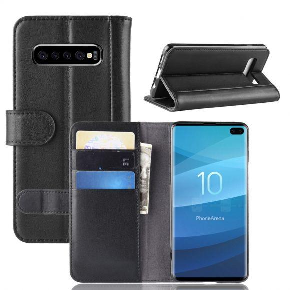 Samsung Galaxy S10 Plus - Étui portefeuille en cuir premium