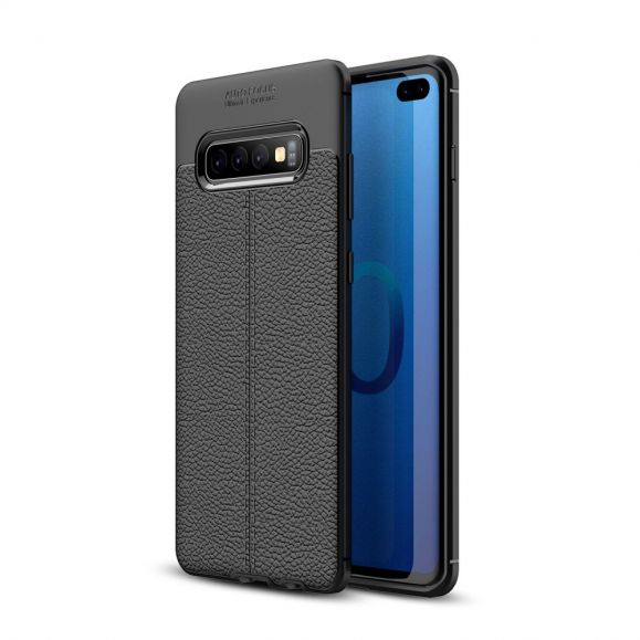 Samsung Galaxy S10 Plus - Coque gel finition simili cuir