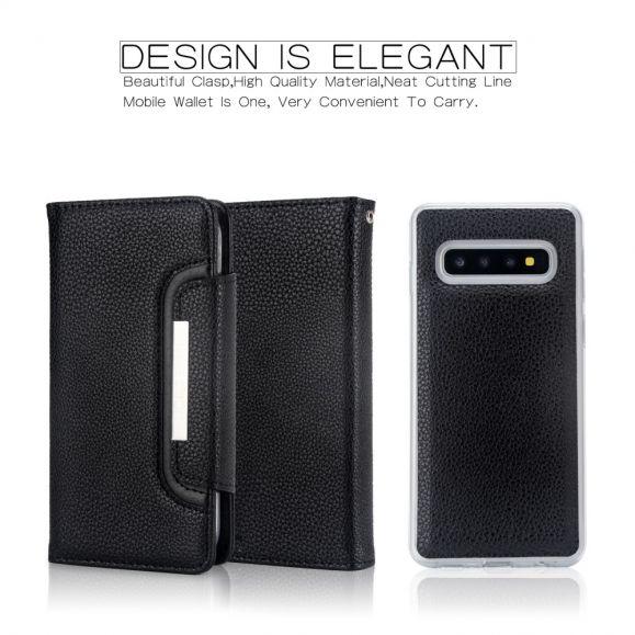 Samsung Galaxy S10 - Étui portefeuille + coque cuir
