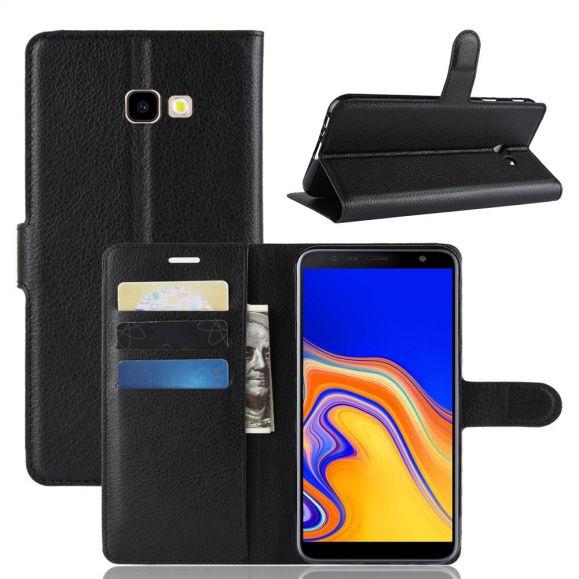 Samsung Galaxy J4 Plus - Étui style cuir porte cartes
