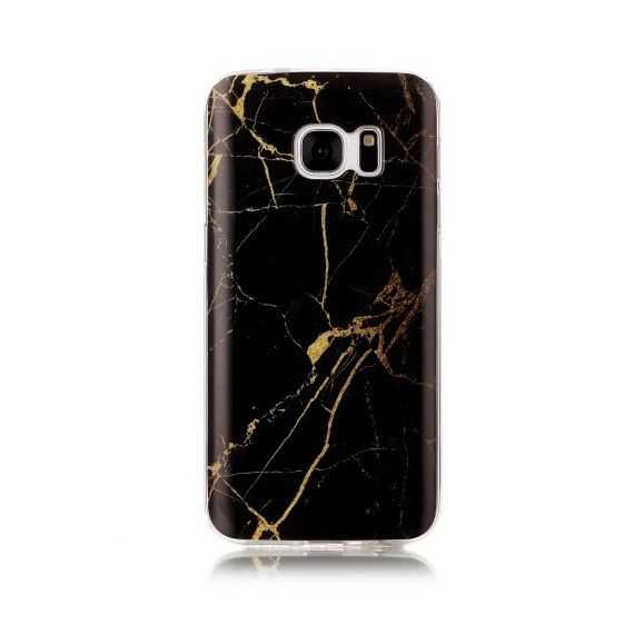 Coque Samsung Galaxy S7 Marbre - Noir / Or