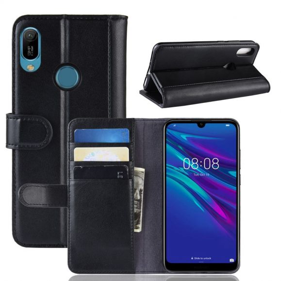 Étui Huawei Y6 2019 cuir premium - noir