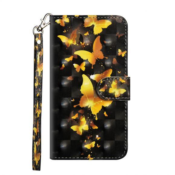Huawei Y6 2019 - Housse Papillons Dorés