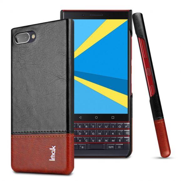 BlackBerry KEY2 LE - Coque imak imitation cuir - Noir / Marron