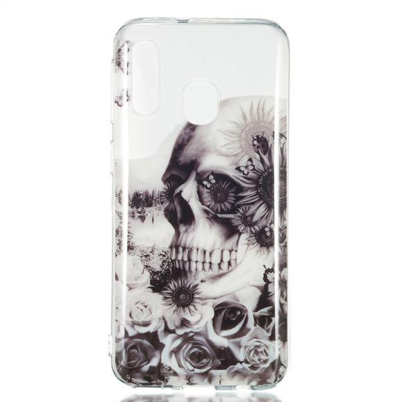 Samsung Galaxy A40 - Coque tête de mort et fleurs