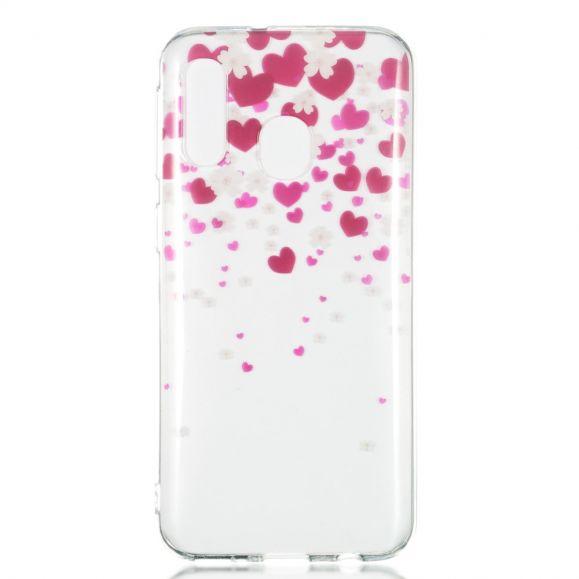 Samsung Galaxy A40 - Coque pluie de fleurs et coeurs