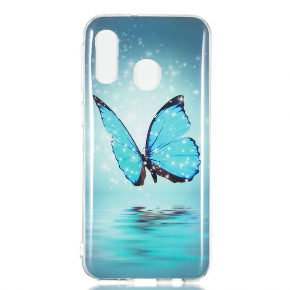 Samsung Galaxy A40 - Coque luminous papillon bleu