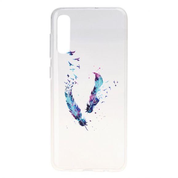 Samsung Galaxy A50 - Coque transparente plumes et oiseaux