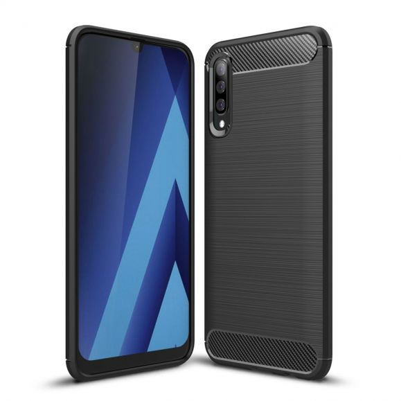 Samsung Galaxy A70 - Coque gel brossé carbone