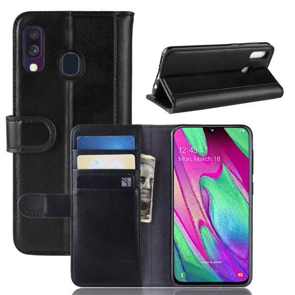 Samsung Galaxy A40 - Étui cuir premium - Noir
