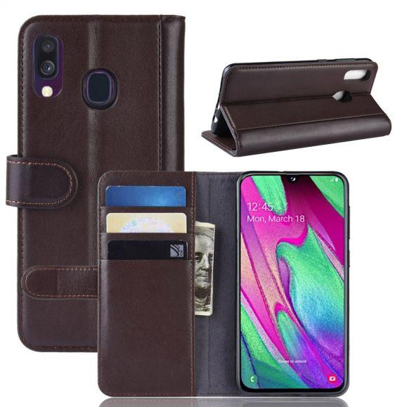 Samsung Galaxy A40 - Étui cuir premium - Marron