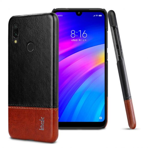 Xiaomi Redmi Note 7- Coque imak bicolore imitation cuir - Noir / Marron