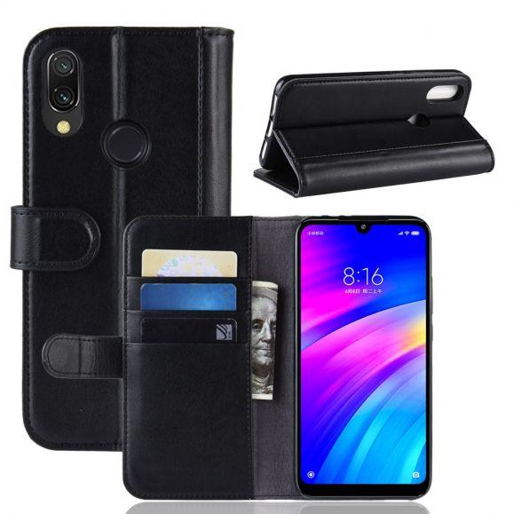 Xiaomi Redmi 7 - Étui cuir premium porte cartes - Noir