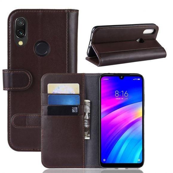 Xiaomi Redmi 7 - Étui cuir premium porte cartes - Marron