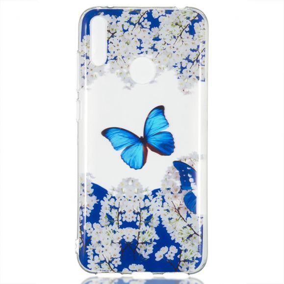 Huawei Y7 2019 - Coque papillon bleu floraison