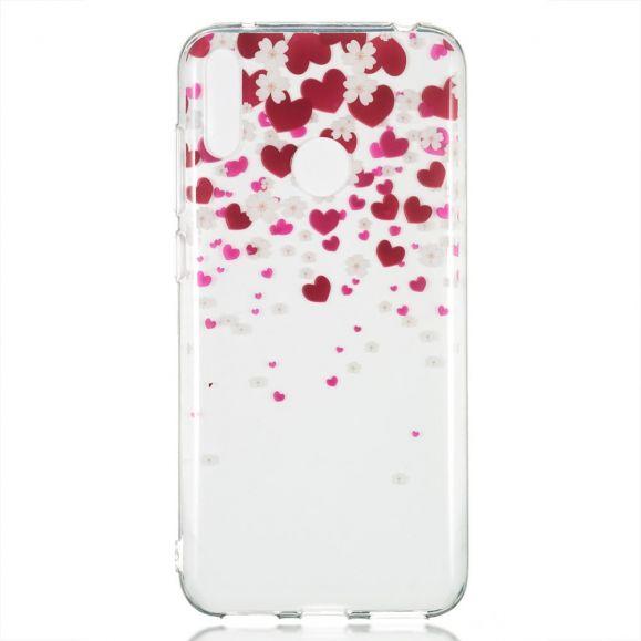 Huawei Y7 2019 - Coque pluie de fleurs et coeurs