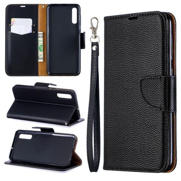 Samsung Galaxy A50 - Étui folio avec lanière effet cuir grainé