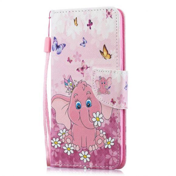 Huawei P30 Lite - Étui à lanière Éléphant rose