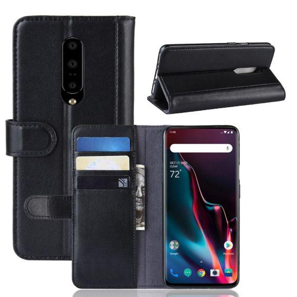 OnePlus 7 Pro - Étui cuir premium porte cartes - Noir