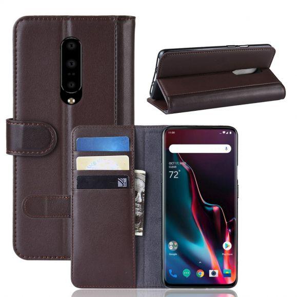 OnePlus 7 Pro - Étui cuir premium porte cartes - Marron