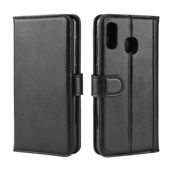 Samsung Galaxy A20e - Étui cuir premium portefeuille - Noir