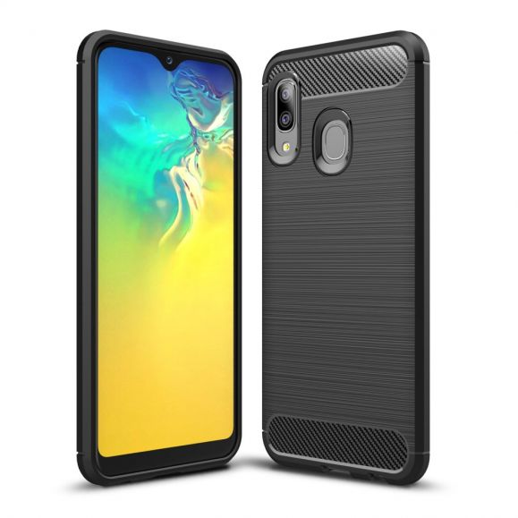 Samsung Galaxy A20e - Coque gel brossé carbone