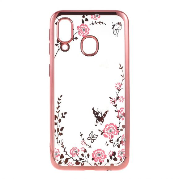 Samsung Galaxy A40 - Coque transparente printemps fleuri - Or rose