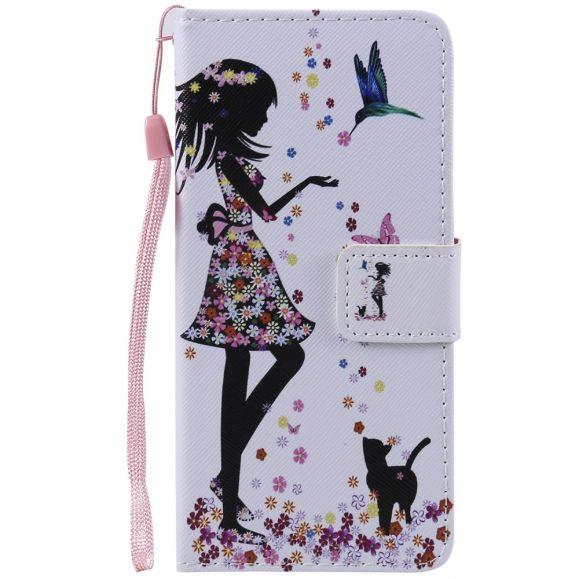 Samsung Galaxy A40 - Étui à lanière fille en fleur