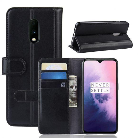 OnePlus 7 - Étui cuir premium portefeuille - Noir