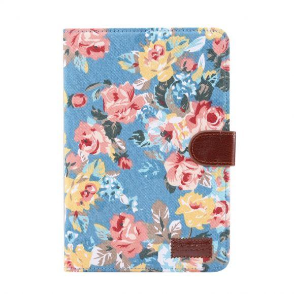 iPad mini 2019 - Etui fleuri revêtement tissu - Bleu