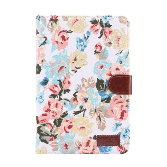 iPad mini 2019 - Etui fleuri revêtement tissu - Blanc