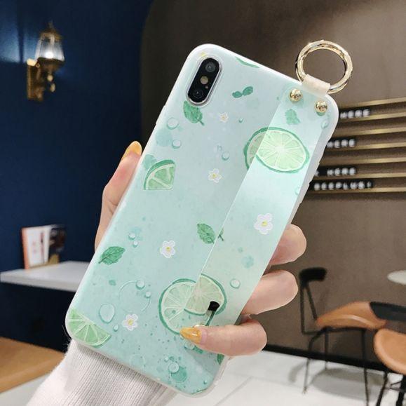 iPhone XS / X - Coque avec anse citron vert