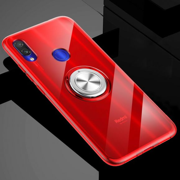 Xiaomi Redmi Note 7 - Coque avec anneau magnétique - Rouge
