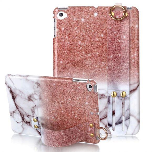 iPad Mini 5 2019 - Coque avec sangle paillettes et marbre