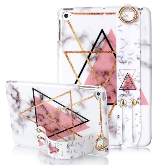 iPad Mini 5 2019 - Coque avec sangle marbre triangles