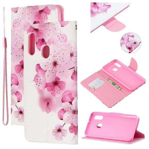 Samsung Galaxy A20e - Étui à lanière fleurs roses