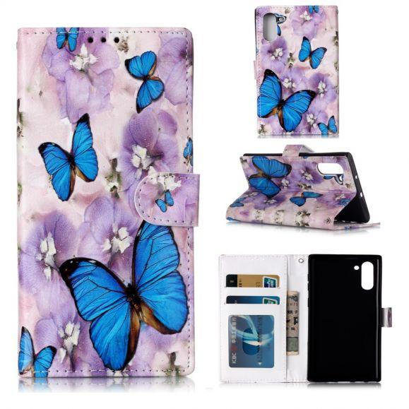 Samsung Galaxy Note 10 - Housse papillons bleus et fleurs