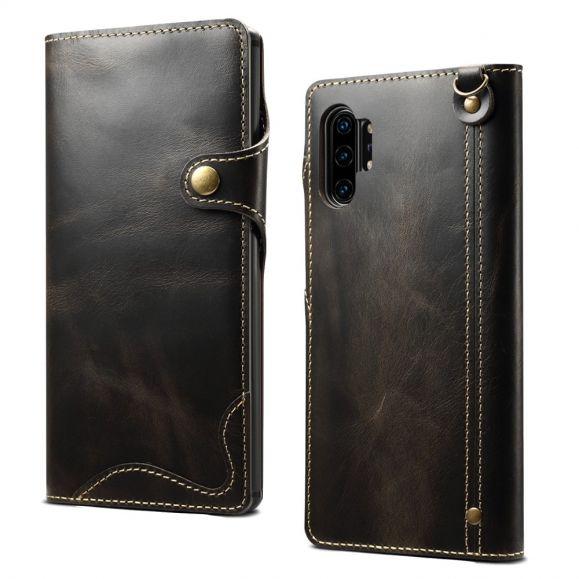 Samsung Galaxy Note 10 Plus - Housse cuir véritable coutures apparentes