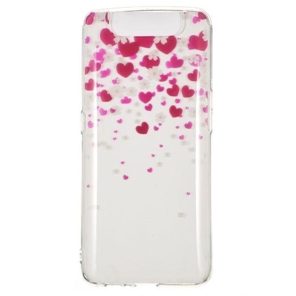 Samsung Galaxy A80 - Coque pluie de fleurs et coeurs