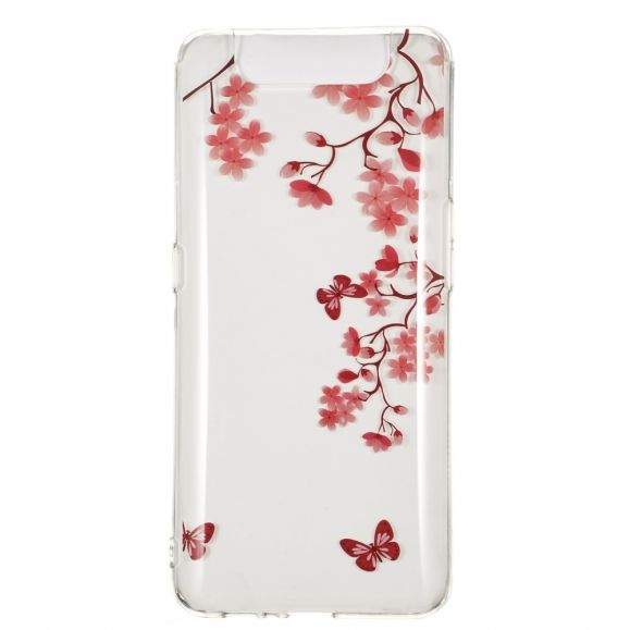 Samsung Galaxy A80 - Coque transparente branches fleuries