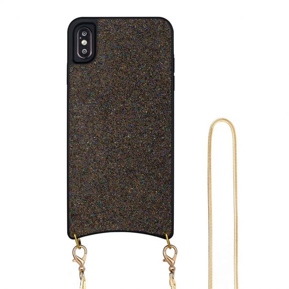 iPhone XS Max - Coque paillettes avec collier