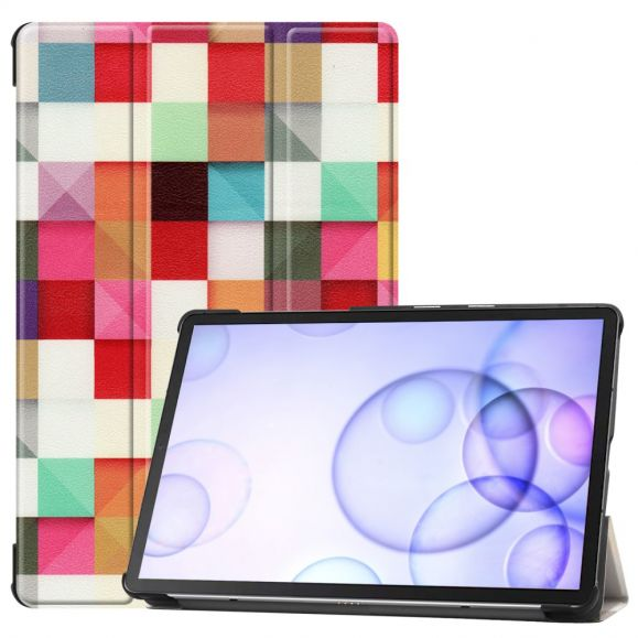 Samsung Galaxy Tab S6 - Coque avec rabat intelligent carreaux colorés