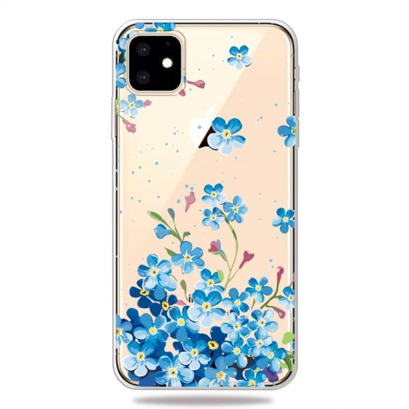 iPhone 11 - Coque transparente fleurs bleues